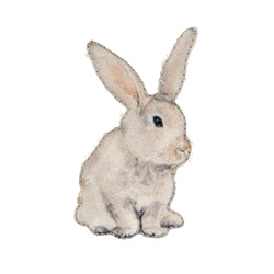 Patch rabbit 50x25mm white/light grey 1p