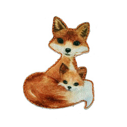 Patch fox 43x32mm brown 1pc