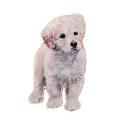 Patch puppy 52x21mm light grey 1pc