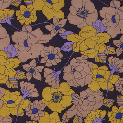 Woven twill viscose dark purple w flower