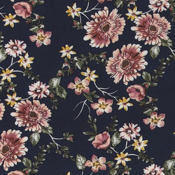 Woven viscose navy with flowers