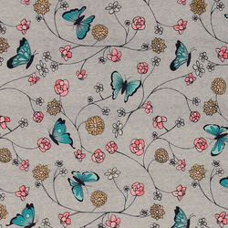 Stretch jersey grey mel w butterflies