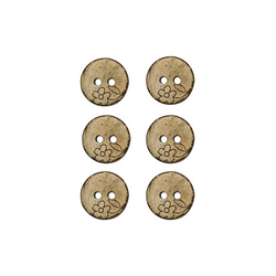 Button coconut 15mm 2 holes 6pcs