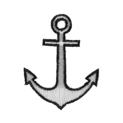 Patch 40x50mm anchor white/black 1 pc