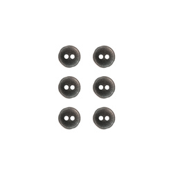 Button metal 11mm 2-holes dk grey 6 pcs