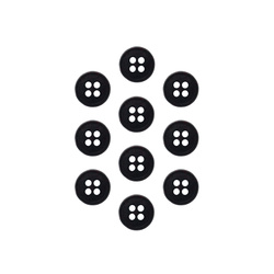 Button 11 mm 4-holes black 10 pcs