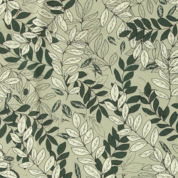 Linen/viscose light green w leafs