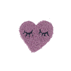 Patch heart 52x50mm purple 1pcs