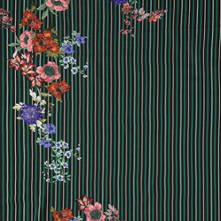 Woven viscose green stripe w flowers
