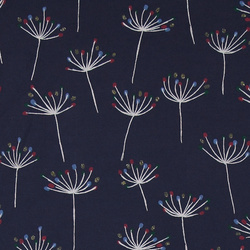 Stretch jersey navy med blomster