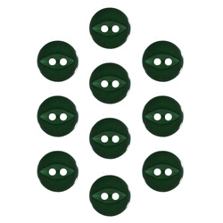 Button 2-holes 10mm bottle green 10pcs