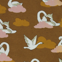 Stretch jersey brown w swans and clouds