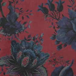 Upholstery velvet bordeaux w blue flower