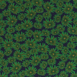 Woven viscose navy with green flowers