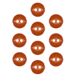 Button 2-holes 11mm orange 10pcs