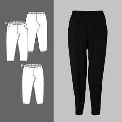Trousers with elastic waiste and pockets