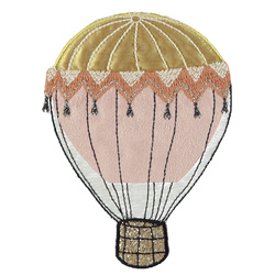 Stoffappl. Ballon 120x90mm Rosa/Gold,St.