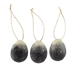 Kit wool egg 58x43mm grey/nature 3 pcs