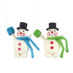 Kit wool snowmen 10cm green/blue 2pcs