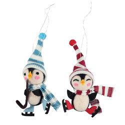 Kit wool penquins 13cm red/blue 2pcs