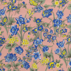 Cotton dusty rose w blue/yellow flowers