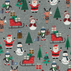 Stretch jersey greymel w Christmasfigure