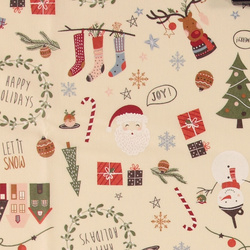 Woven oil cloth beige w christmas print