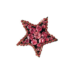 Patch star 45X45mm imit. stone pink 1pc
