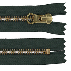 YKK zip 6mm closed end green/gold