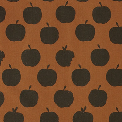 Organic cotton golden brown w apples