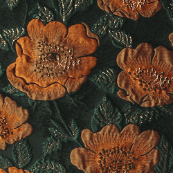 Woven jacquard black w big golden flower