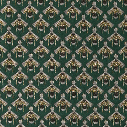 Woven jacquard bottel green w gold bees