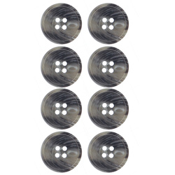 Button 4-holes 20mm grey mix 8pcs