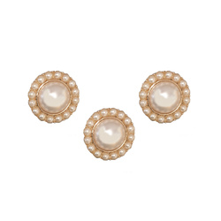 Shank button metal 20mm white pearls 3pc