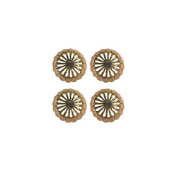 Shank button metal 15mm gold/rose 4pcs
