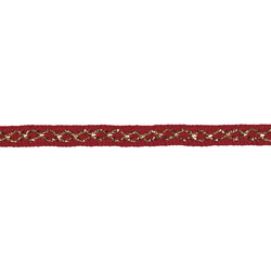 Ribbon woven 10mm red/gold lurex 3m
