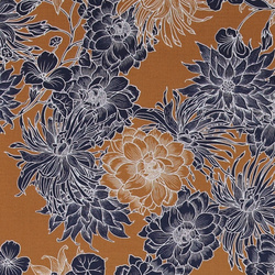 Woven viscose golden with navy flowers
