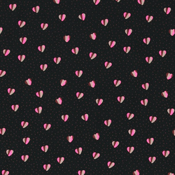 Woven viscose black with dots and hearts