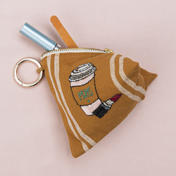 Embroidered cosmetic purse