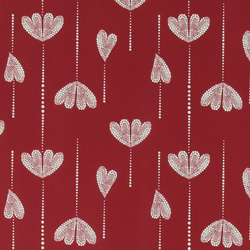 Non-woven oilcloth d red w dot pattern