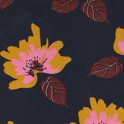 Woven viscose navy with big flowers