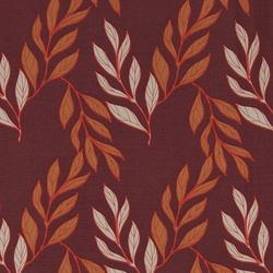 Woven viscose dark rouge w autumn leaf