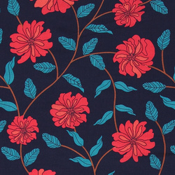 Woven viscose navy w red/blue flower