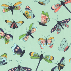 Stretch jersey mint green with butterfly