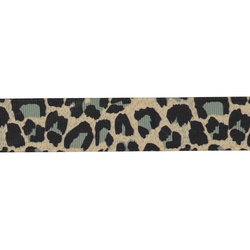 Ribbon woven leopard 25mm black/beige 2m