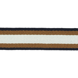 Ribbon woven 38mm white/brown/navy 2m