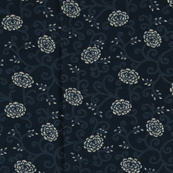 Woven viscose navy with white pattern