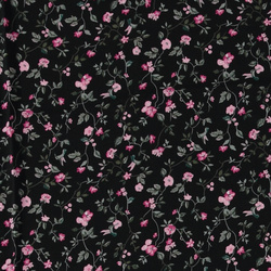 Woven viscose black with pink flowers