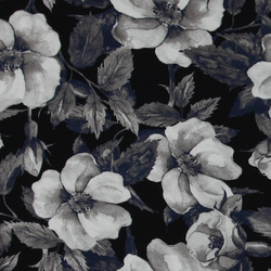 Woven viscose black/white with flowers