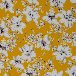 Woven viscose yellow with flowers